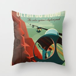 SpaceX Travel Poster: Olympus Mons, Mars Throw Pillow