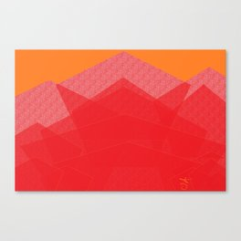 Colorful Red Abstract Mountain Canvas Print