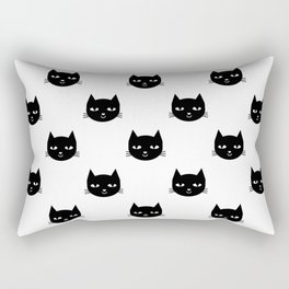Cat minimal illustration pet cats head drawing digital pattern black and white nursery art Rectangular Pillow