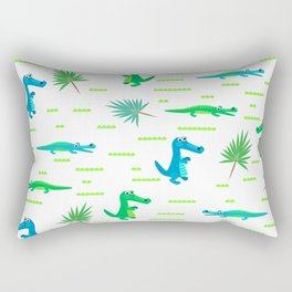 Green and blue crocodiles pattern Rectangular Pillow