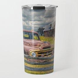 Pickup Truck behind wooden fence in a Rural Landscape Travel Mug