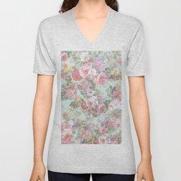 Country chic vintage green blush pink elegant floral Unisex V-Neck