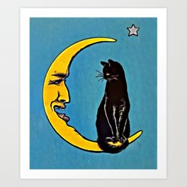 Black Cat & Moon Art Print