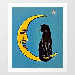 Black Cat & Moon Art Print