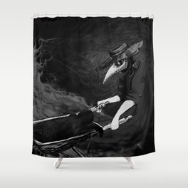 Plague Doctor Collects Shower Curtain