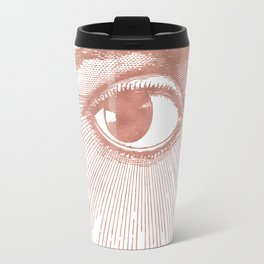 I see you. Rose Gold Pink Quartz on White Travel Mug