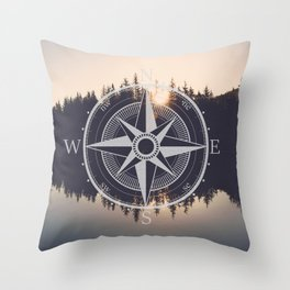 Wooded Lake Reflection Compass Throw Pillow