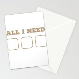 Funny Foodie Lazy Person All I Need Is Food Wifi Bed Gift Stationery Cards