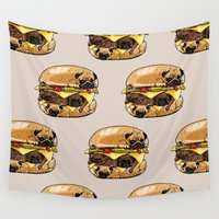 hamburger Wall Tapestries featuring Pugs Burger by Huebucket