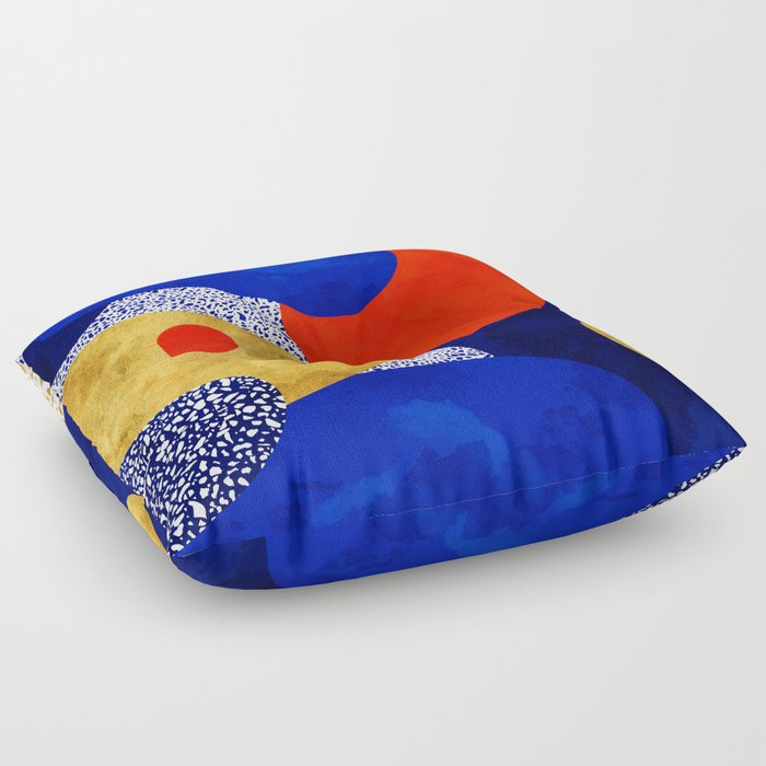 Terrazzo galaxy blue night yellow gold orange Floor Pillow by ...