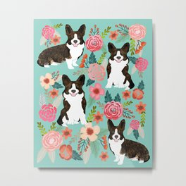 Brindle Cardigan Corgi Florals - cute corgi design, corgi owners will love this mint florals corgi Metal Print
