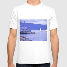 Sailboats end. White Mens Fitted Tee MEDIUM