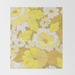 Yellow, Ivory & Brown Retro Flowers Throw Blanket