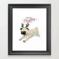 Deer Pug Framed Art Print