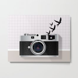 vintage camera and birds Metal Print