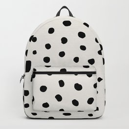Modern Polka Dots Black on Light Gray Backpack