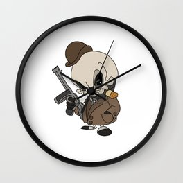 Cute Gangster Skull Wall Clock
