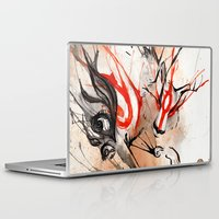 okami Laptop & iPad Skins featuring Okami Amaterasu Ink by Rubis Firenos