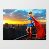 supergirl Canvas Prints featuring Supergirl by Shana-e