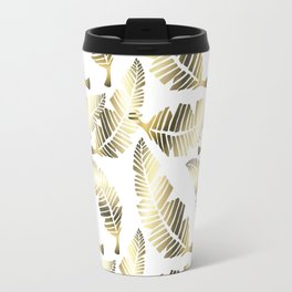 Tropical brown gold abstract leaves floral pattern Travel Mug