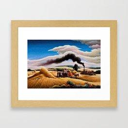 American Classical Masterpiece Threshing Wheat by Thomas Hart Benton Framed Art Print