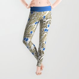 Olive Branches – Gold & Blue Leggings