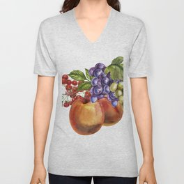 Composition of realistic fruits on a white background in vintage style. Peaches, raspberries, red cu Unisex V-Neck