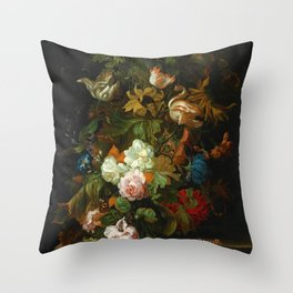 """Ernest Stuven """"Still life of flowers in a glass vase with a butterfly on a ledge"""" Throw Pillow"""