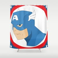 steve rogers Shower Curtains featuring S Rogers by Photogonos