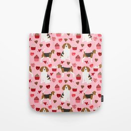 Beagle valentines day cupcakes heart love dog breed must have gifts Tote Bag