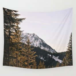 Snow Mountain in the Trees Wall Tapestry