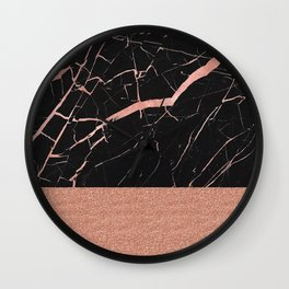Dark stormy rose gold marble Wall Clock