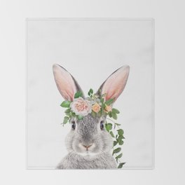Baby Rabbit, Bunny With Flower Crown, Baby Animals Art Print By Synplus Throw Blanket
