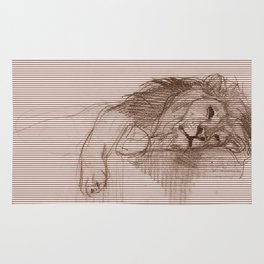 a Sleeping Lion is still a lion Rug