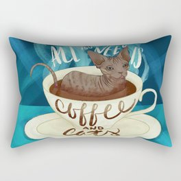 All you need is coffee and cats - sphynx cat art Rectangular Pillow