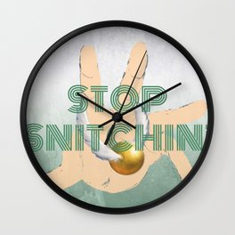 """Stop Golden Snitchin'"" Print Green & Silver 1/2 Wall Clock"