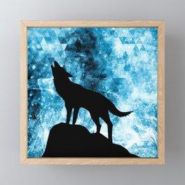Howling Winter Wolf snowy blue smoke Framed Mini Art Print