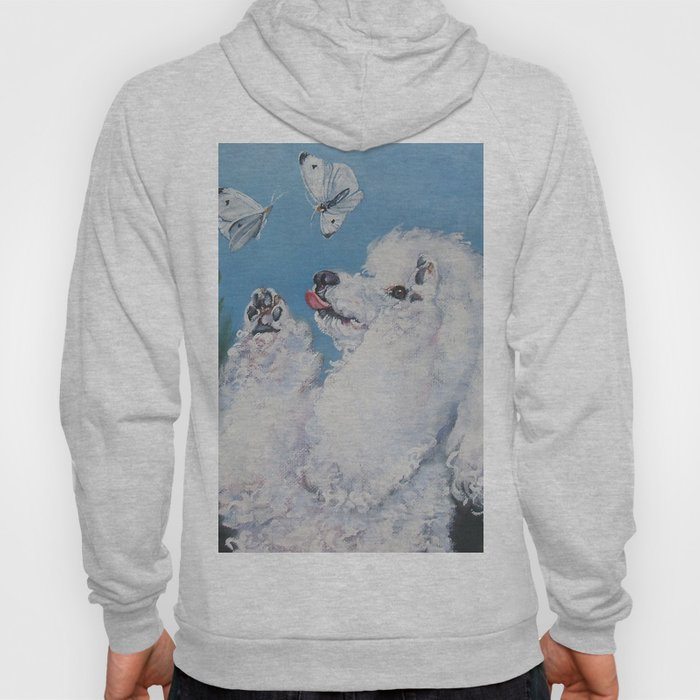 white Poodle dog art from an original painting by L.A.Shepard Hoody