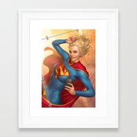 supergirl Framed Art Prints featuring Supergirl by kody