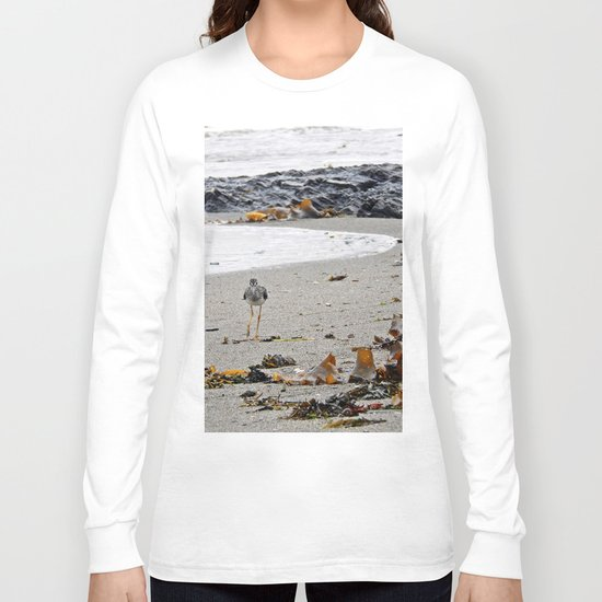 Greater Yellowlegs Strolling on the Beach Long Sleeve T-shirt