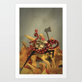 FireFighter with Washboard Abs Art Print