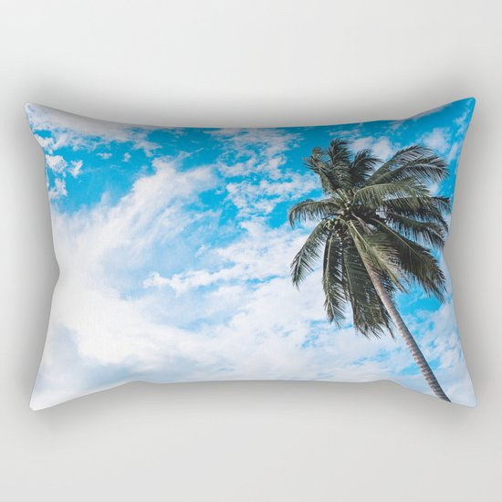 Palm Tree under Blue and White Rectangular Pillow