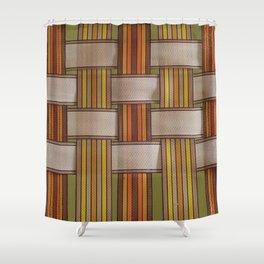 70s Lawn Chair 2 - Orange Brown Rainbow Shower Curtain