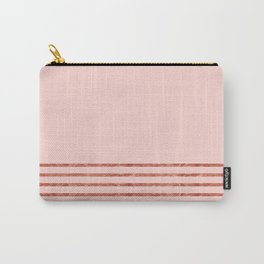 Blush Rose Gold Stripes Carry-All Pouch