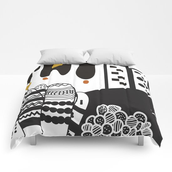 Black and white landscape Comforters