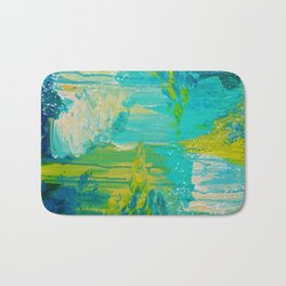 SEASIDE DREAMS - Beautiful Ocean Waves Teal Blue Turquoise Chartreuse Underwater Abstract Painting Bath Mat