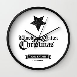 Woodland Critter Christmas Black Text Wall Clock