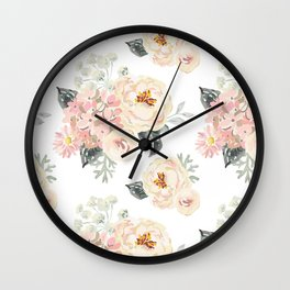 Bouquets pattern. Blush pink peonies. Wall Clock