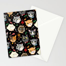 Neighborhood Cats in Black Stationery Cards