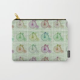 Penny Farthing Vintage Pastel Green Repeat Pattern Carry-All Pouch